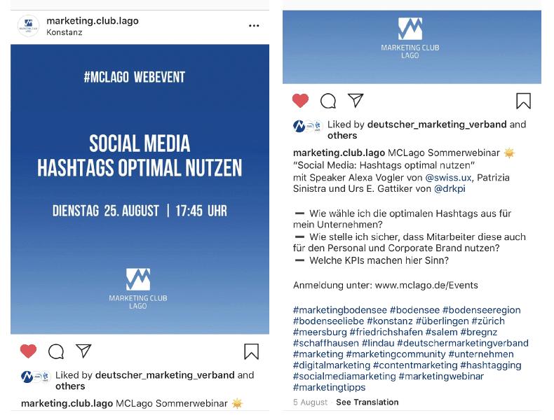 Social Media Marketing: Mit dieser Hashtag Strategie will der MC Lago explizit mehr deutschsprachige Interessenten aus den vier Ländern rund um den #Bodensee erreichen
